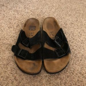 Birkenstock black suede Betula Arizona Sandals 8
